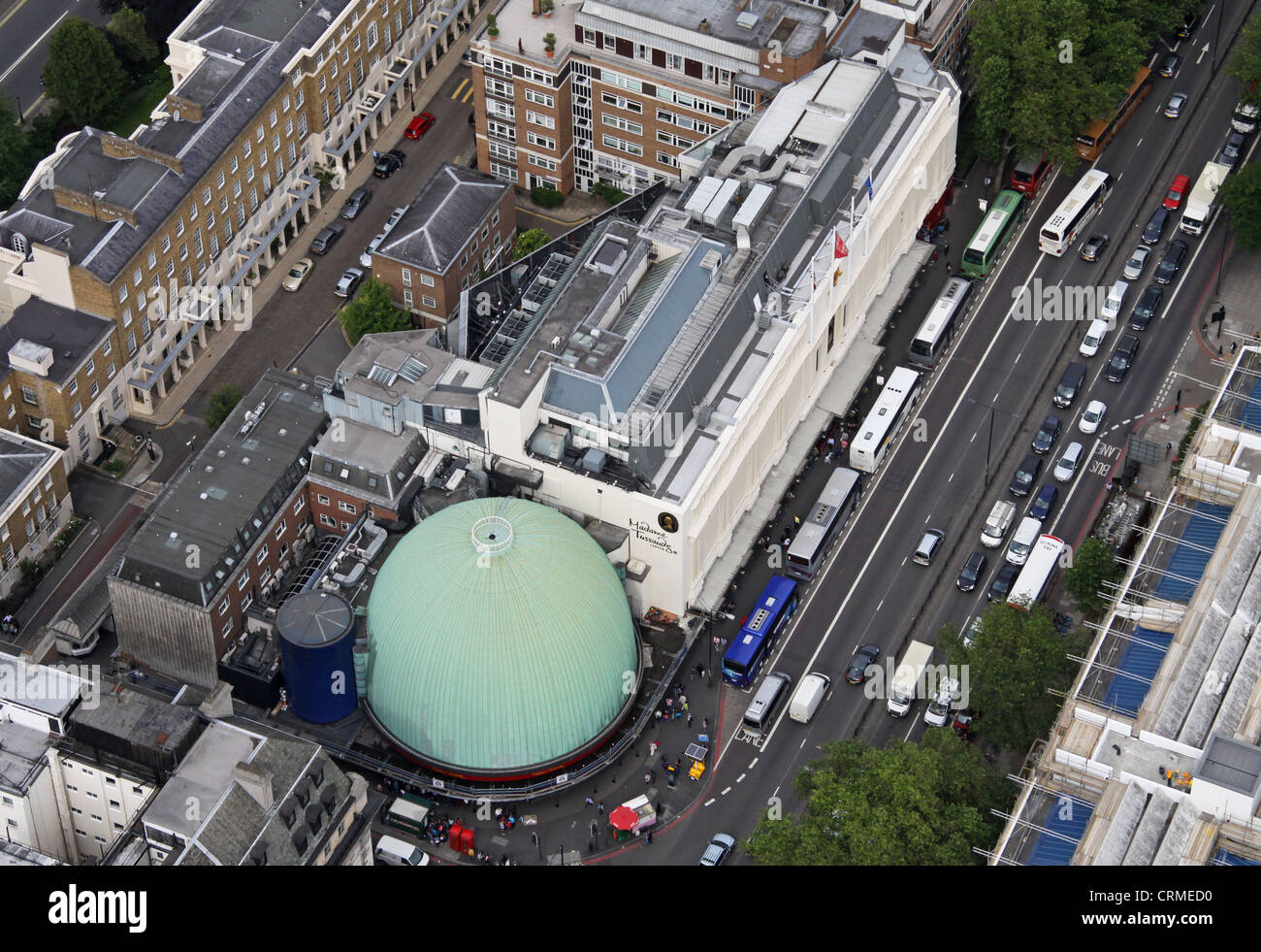 aerial view of Madame Tussauds and London Planetarium on Marylebone Street, London NW1 - Stock Image