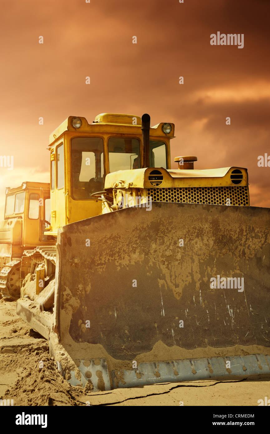 Bulldozer at work - Stock Image