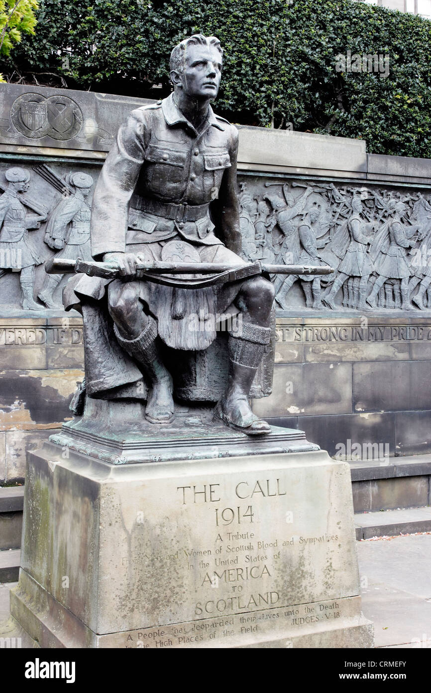 The joint American/Scottish Great War monument known as 'The Call' in Edinburgh, Scotland. Stock Photo