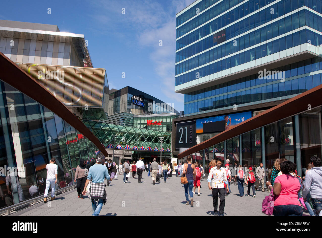 Entrance to Westfield Stratford City shopping centre, London - Stock Image