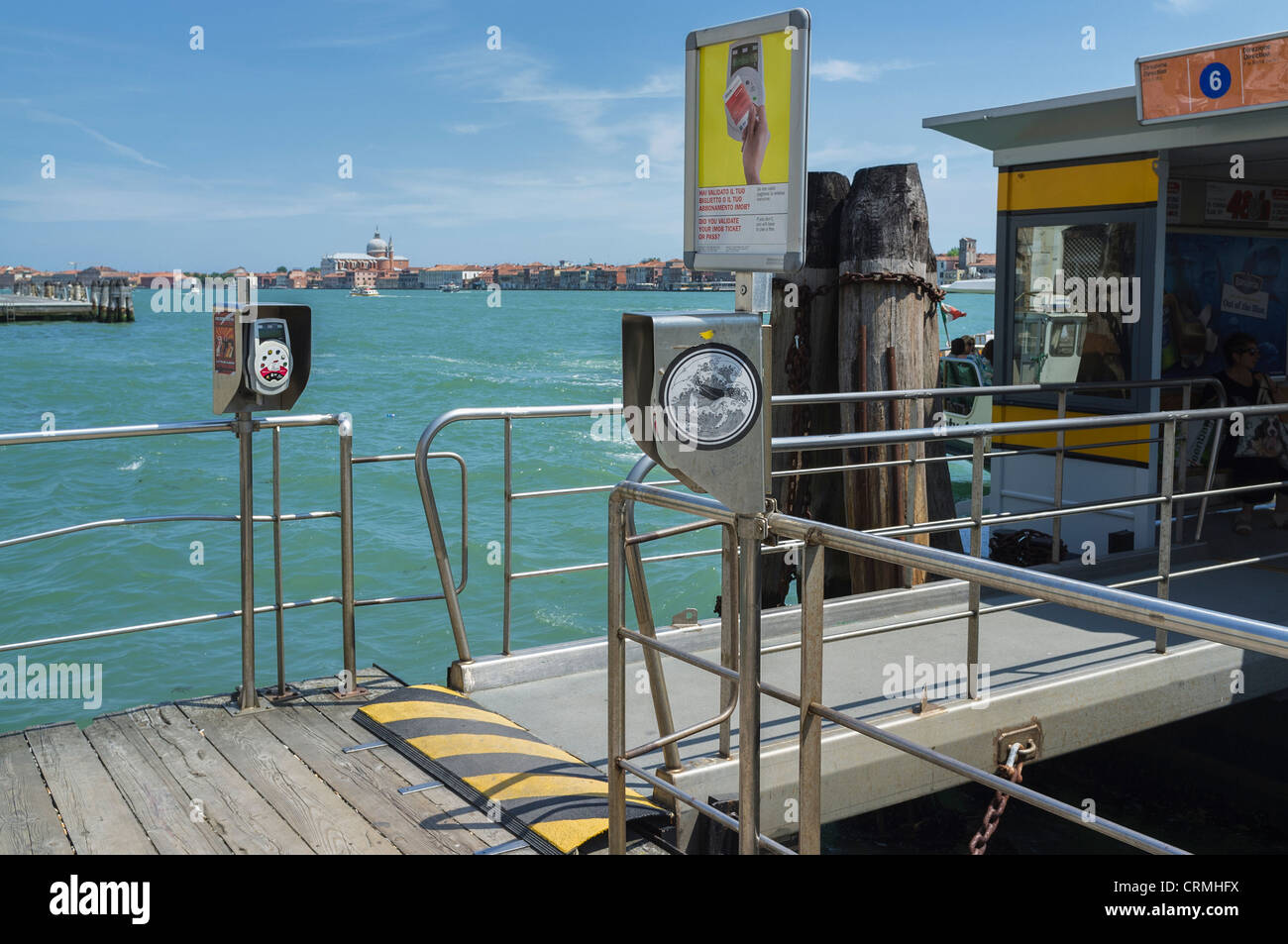 Valporetto ticket validation machines at a water bus stop on the Venice Lagoon - Stock Image