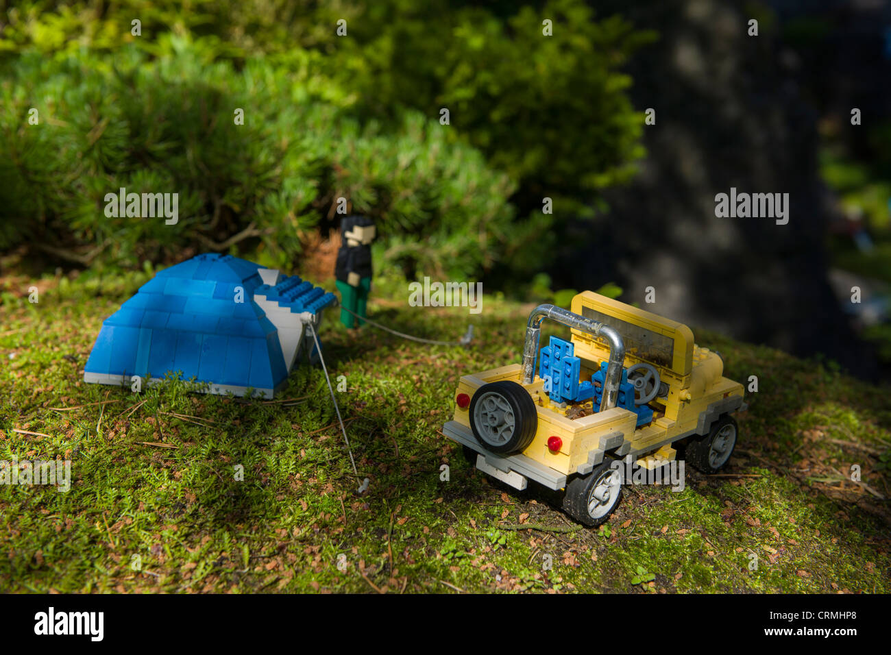 Detail of Lego tent and jeep at Miniland, Legoland, Billund, Denmark Stock Photo