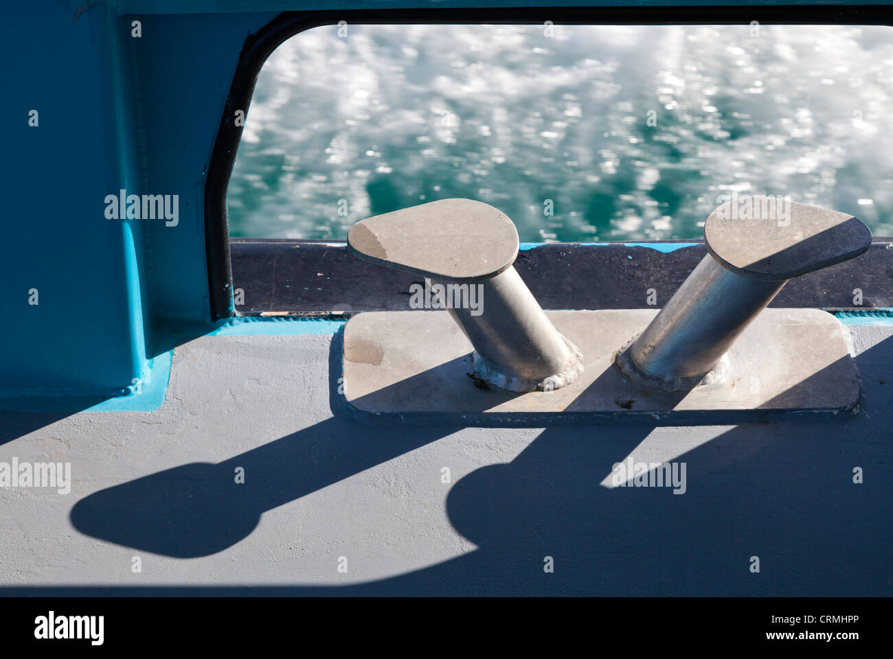 Cruising the Bay of Islands, New Zealand - mooring posts - Stock Image