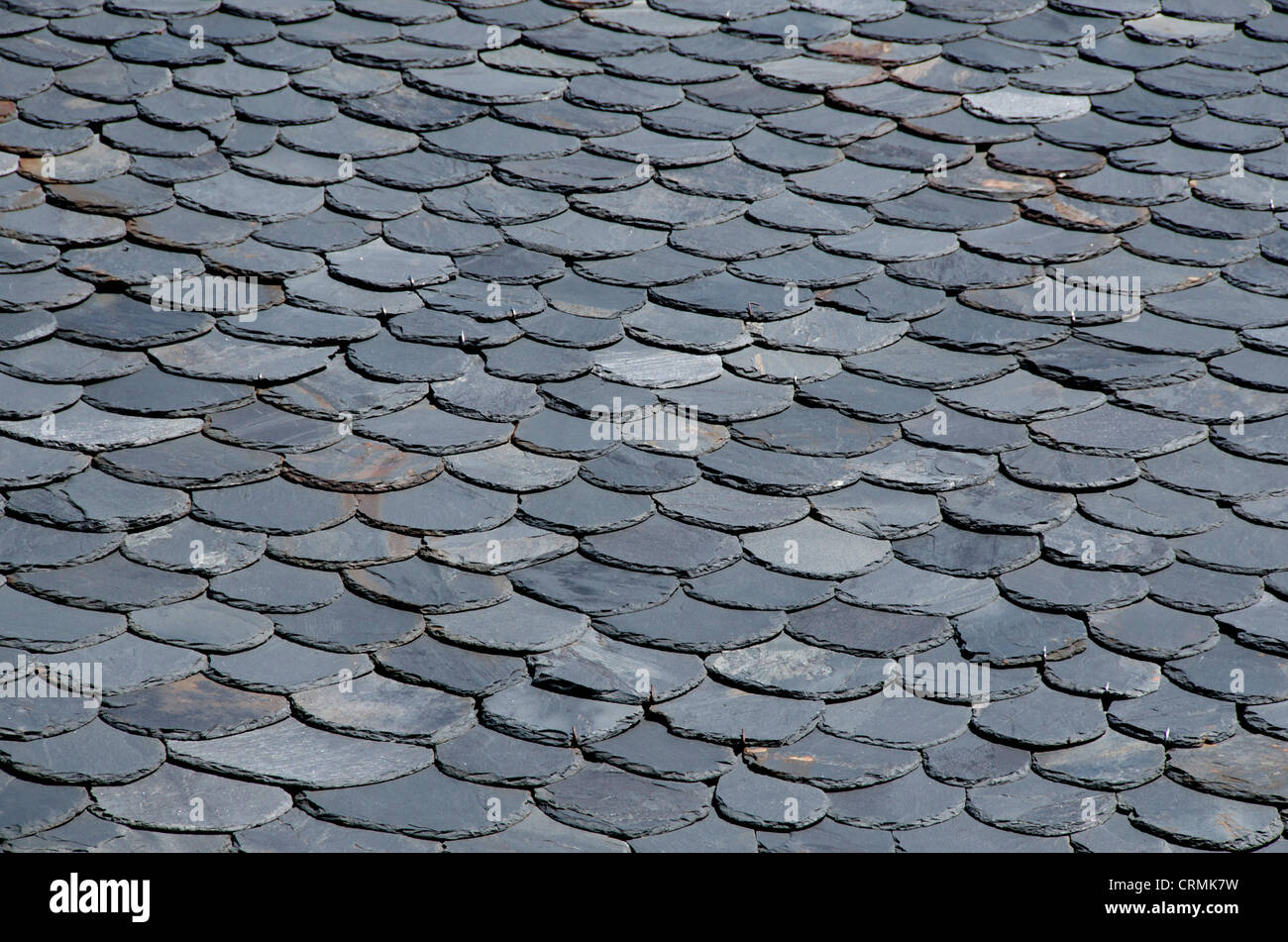 Traditional slate roof in Auvergne, France - Stock Image