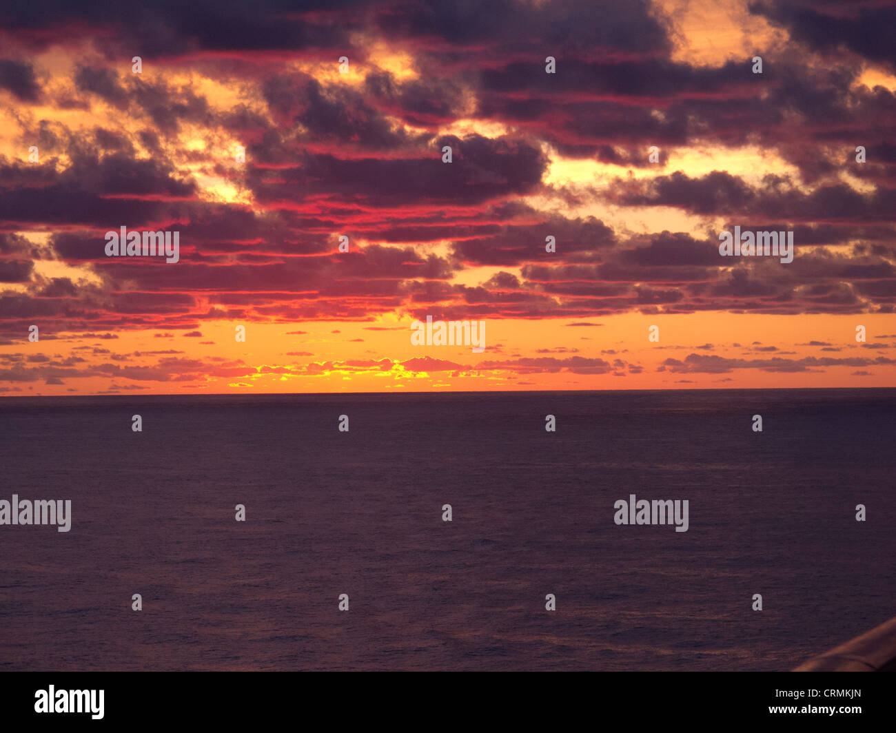 Sunset from a cruise ship in the middle of the Atlantic - Stock Image