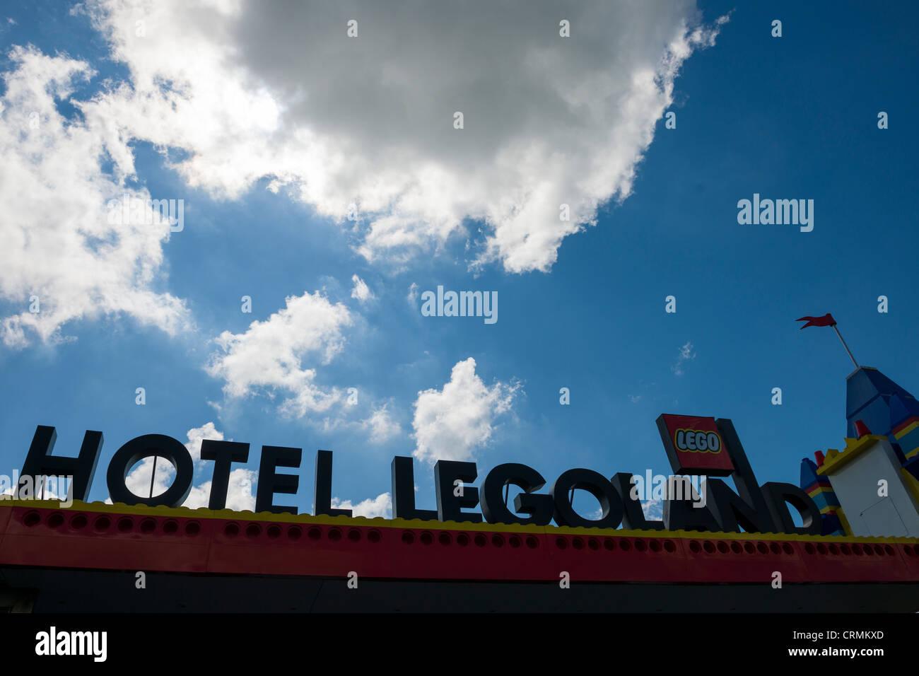 Exterior sign of the Hotel Legoland, Legoland, Billund, Denmark - Stock Image