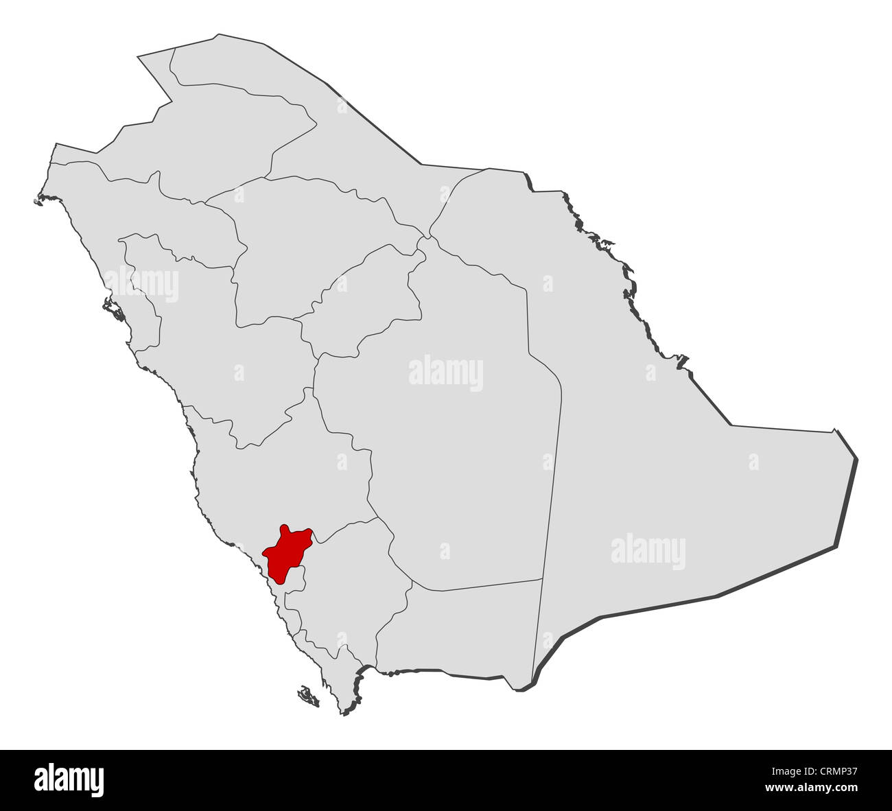 Political map of Saudi Arabia with the several provinces where Stock ...