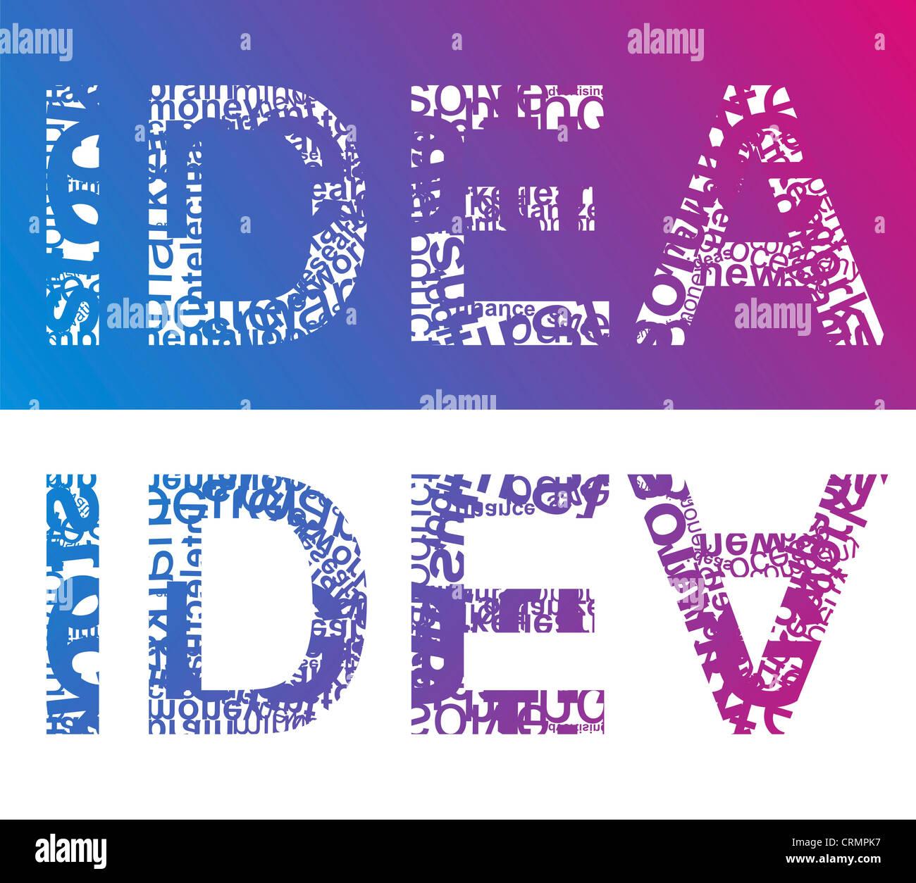 Typographic illustration of word IDEA - Stock Image
