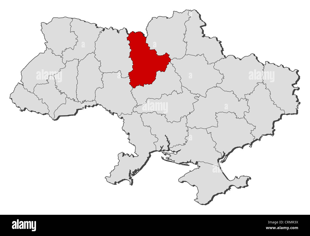 Political map of Ukraine with the several oblasts where Kiev is ...