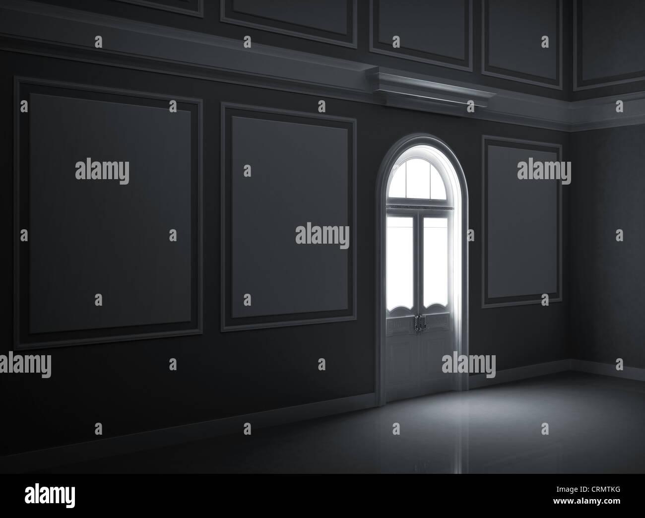 Abstract Dark Night Palace Empty Room Interior With Illuminated Door