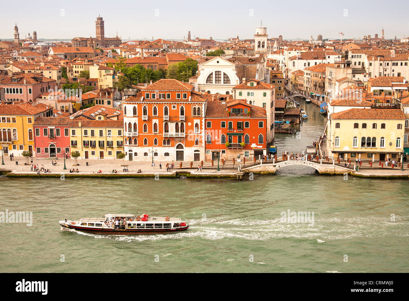 Panoramic view of buildings, rooftops, promenade and Giudecca Canal, Venice, Italy Stock Photo