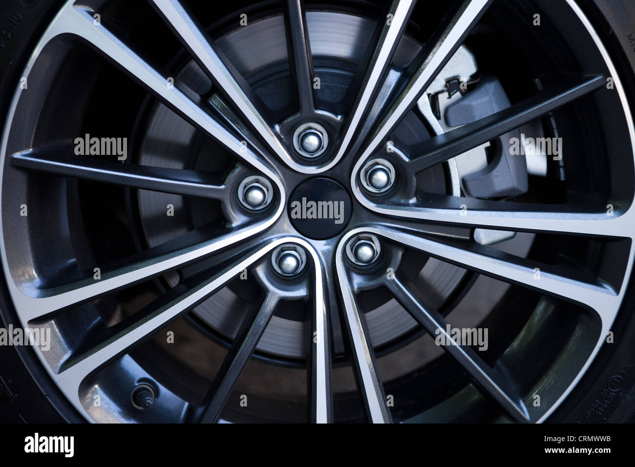 Aluminum Alloy Sports Car Wheel - Stock Image