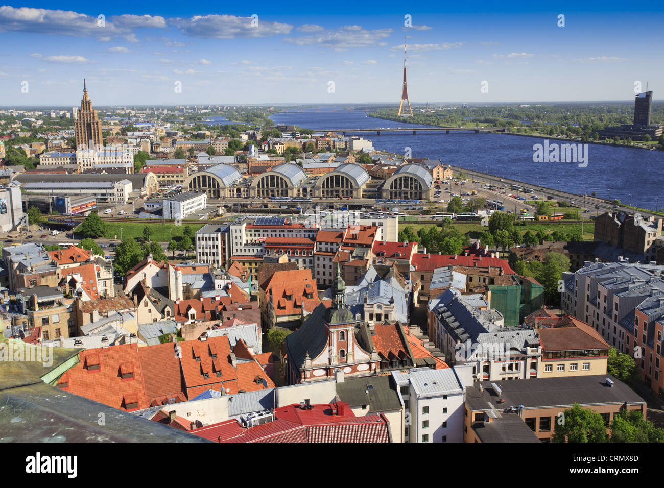 View of Riga skyline towards TV tower - Stock Image