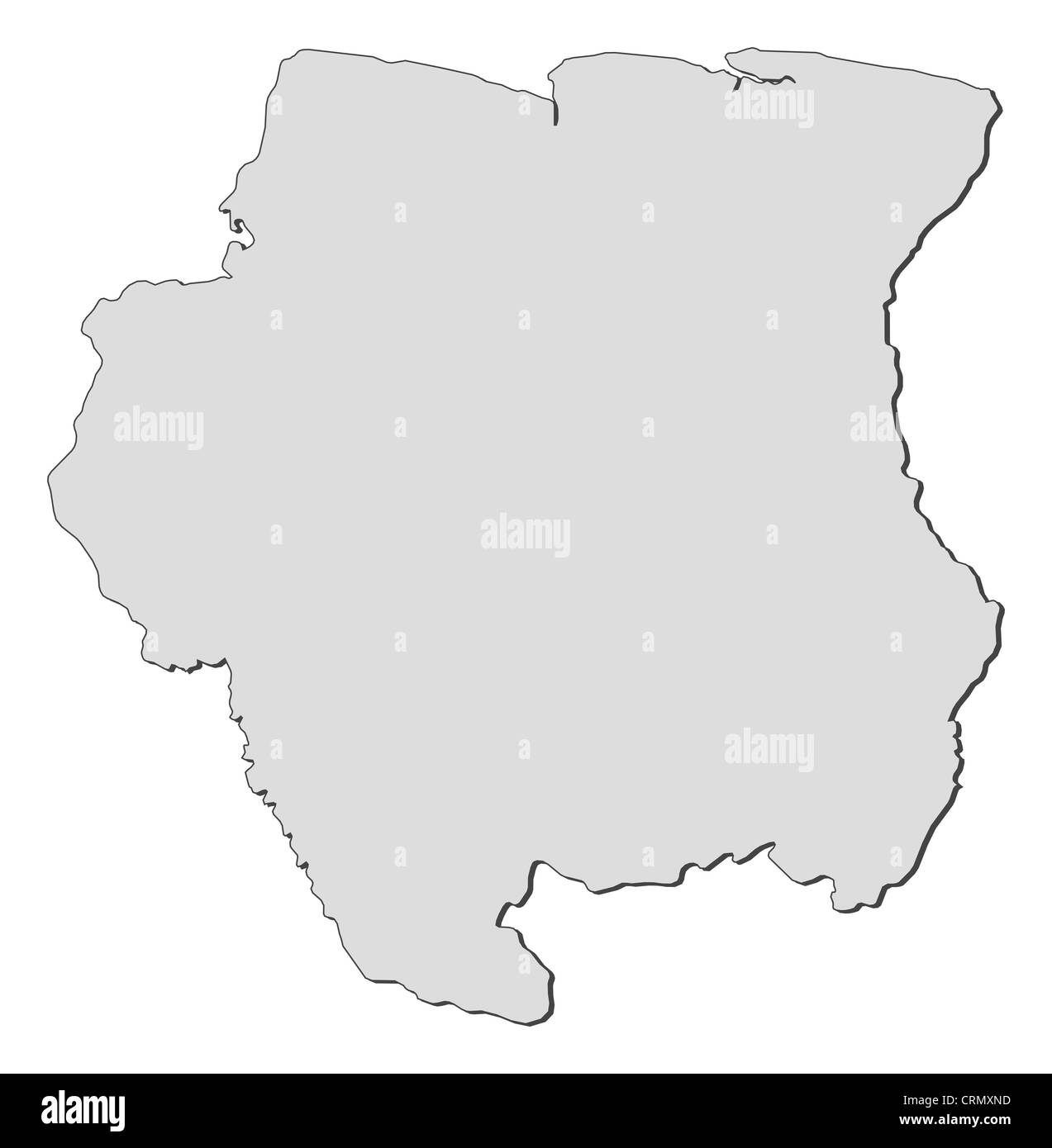 Political map of Suriname with the several districts. - Stock Image