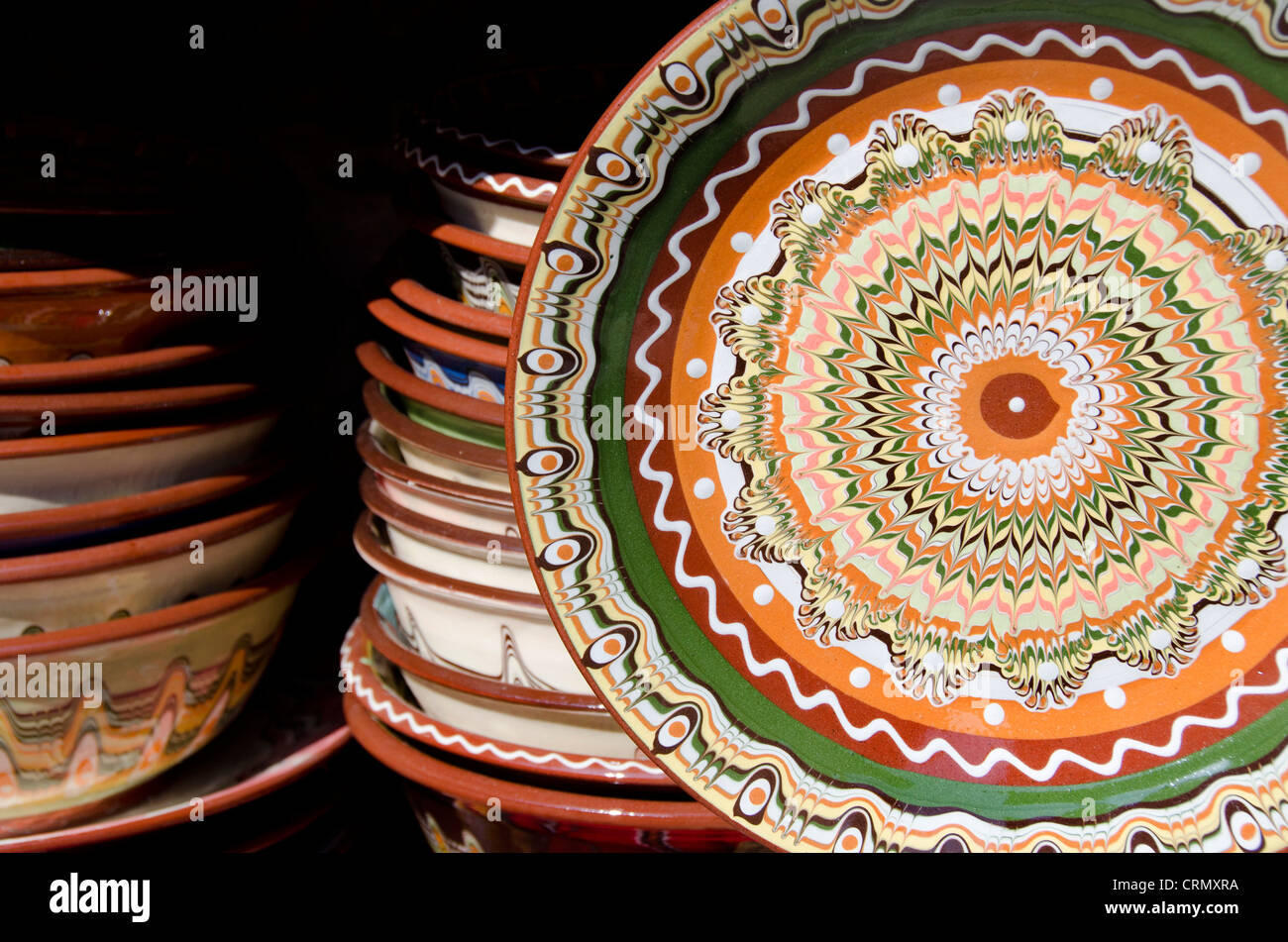 Bulgaria, Nessebur (aka Nessebar or Nesebar). Traditional Bulgarian handicraft pottery with typical colorful pattern. - Stock Image