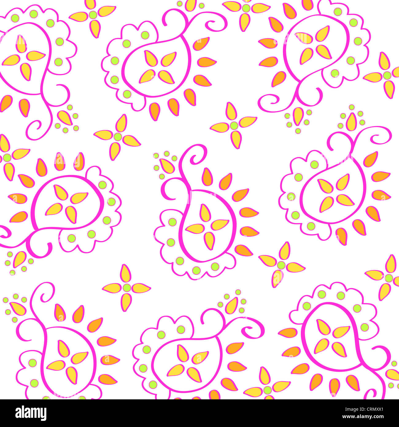 Artistic paisley pattern on white Stock Photo