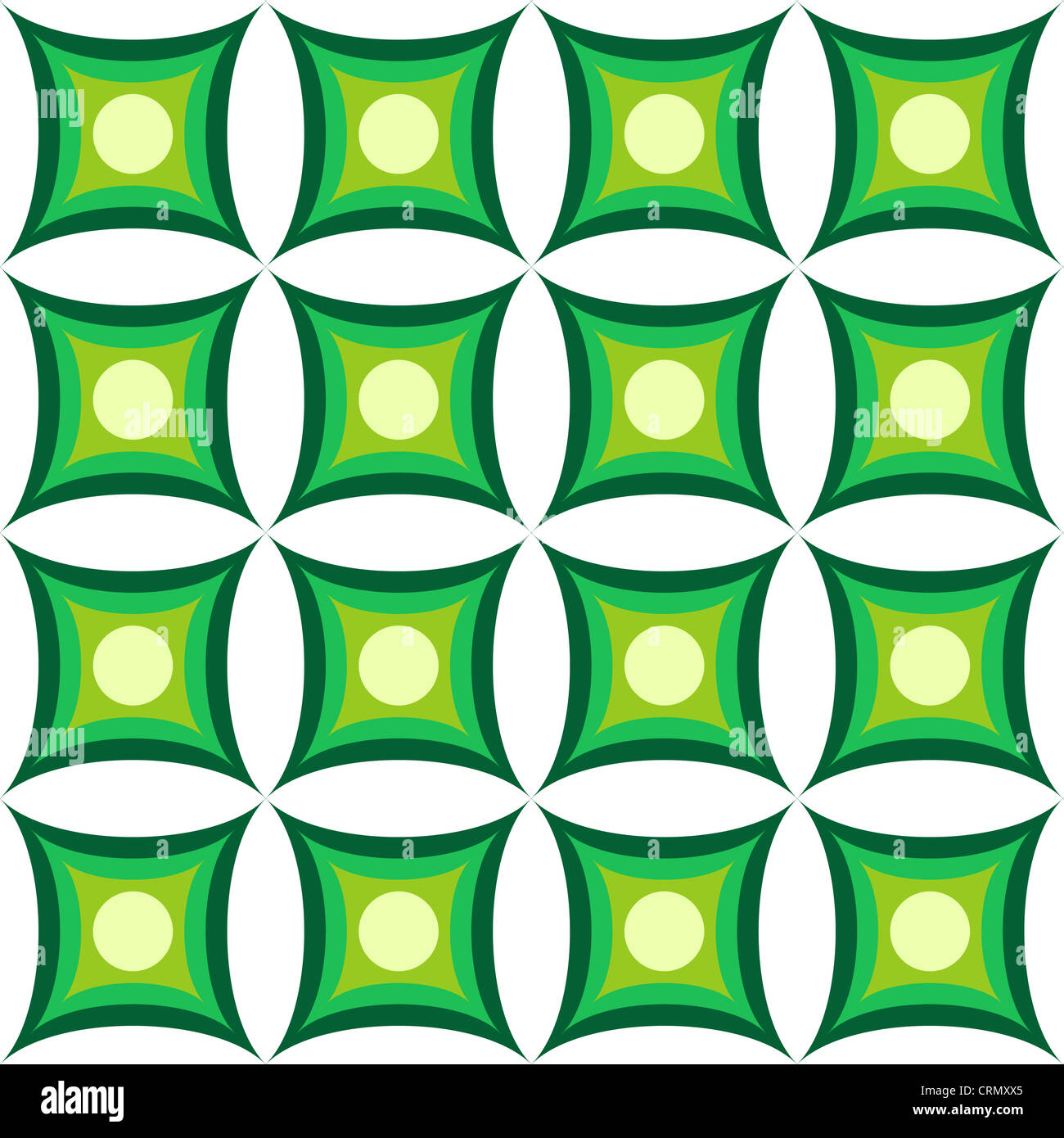 Seamless retro pattern in green and white Stock Photo