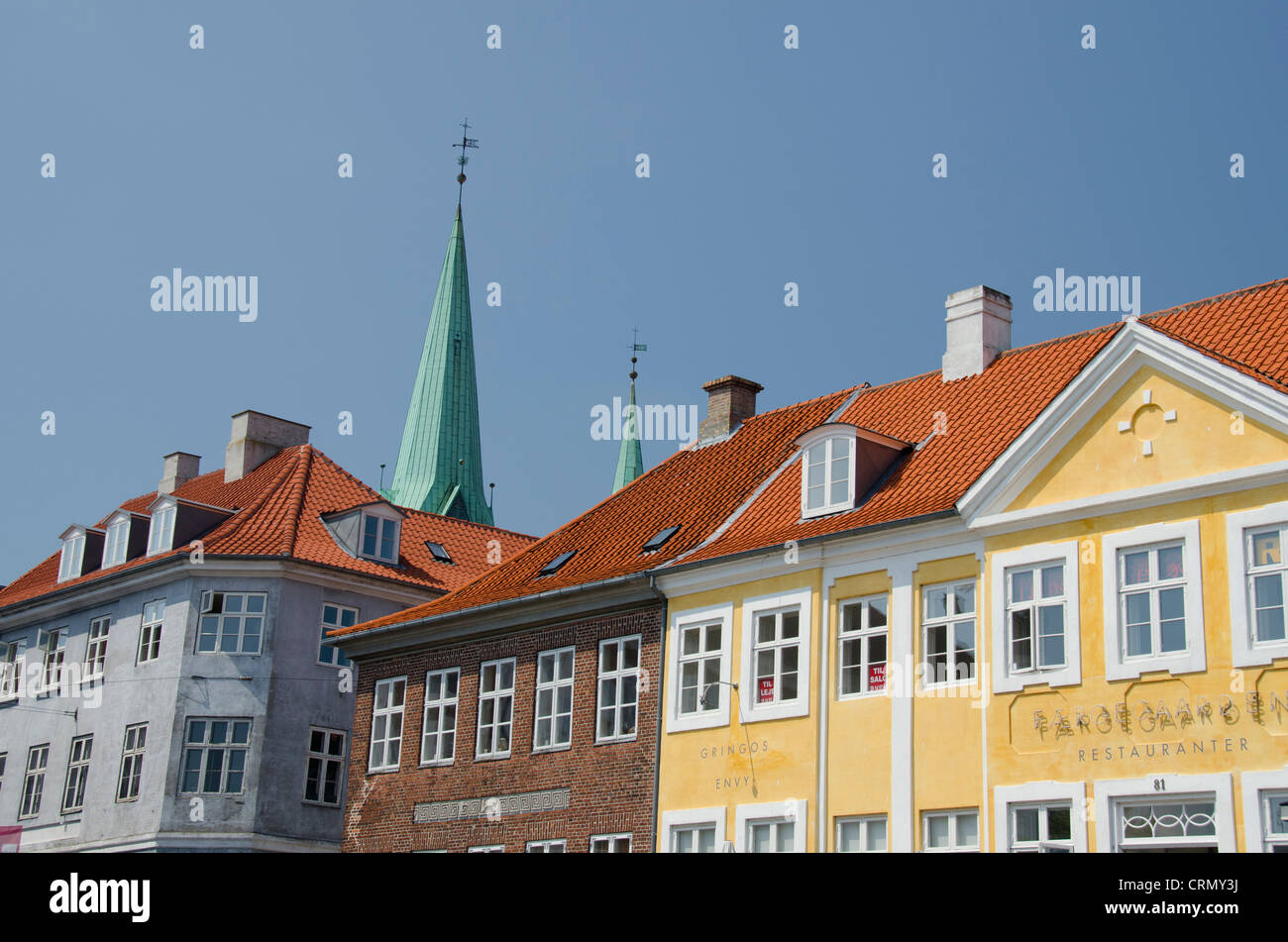 Denmark, Helsingoer. Typical downtown 15th-17th century architecture. - Stock Image