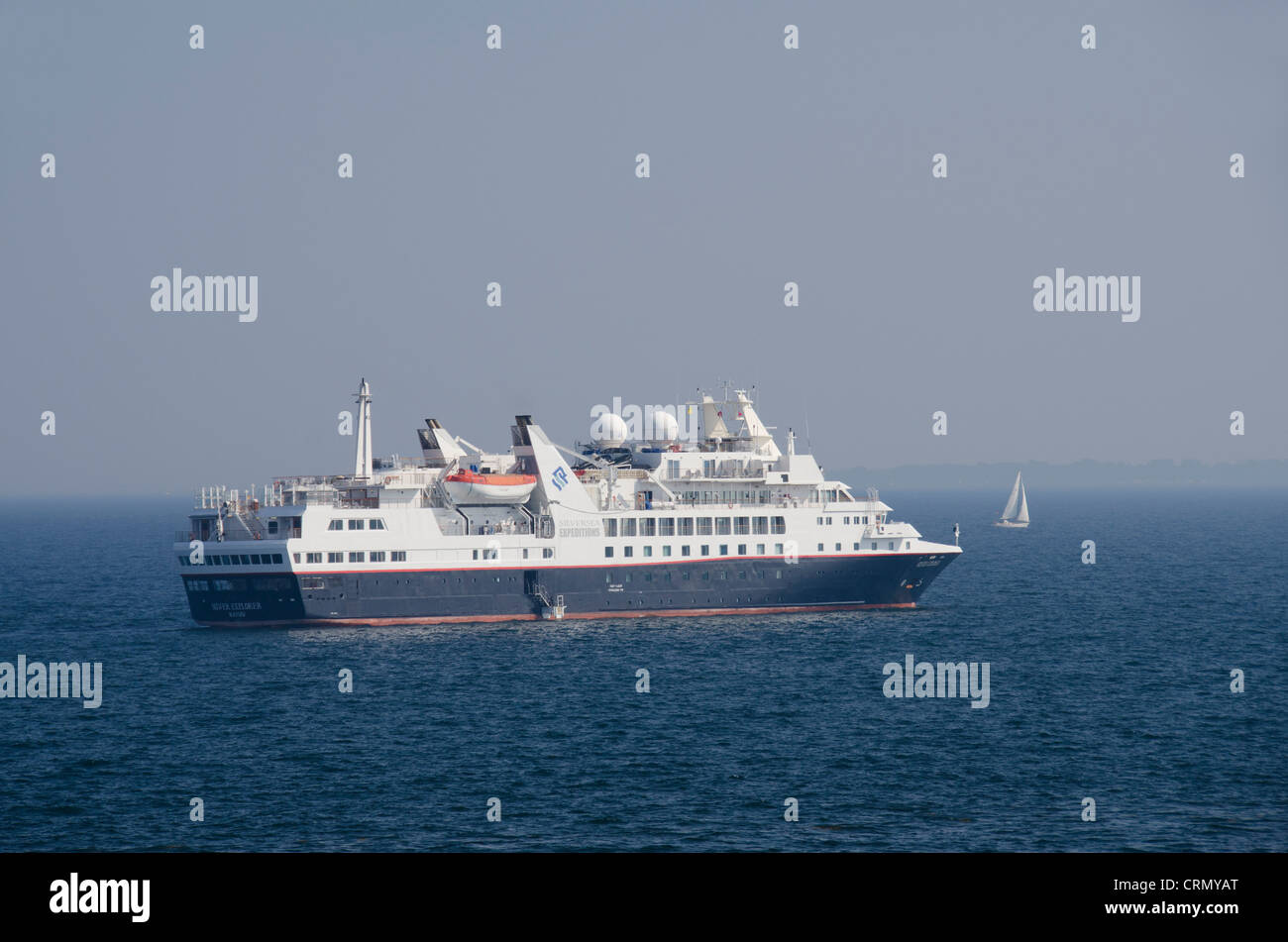 Denmark, Helsingoer. Silversea Expeditions ship the Silver Explorer anchored in the North Sea at Denmark. - Stock Image