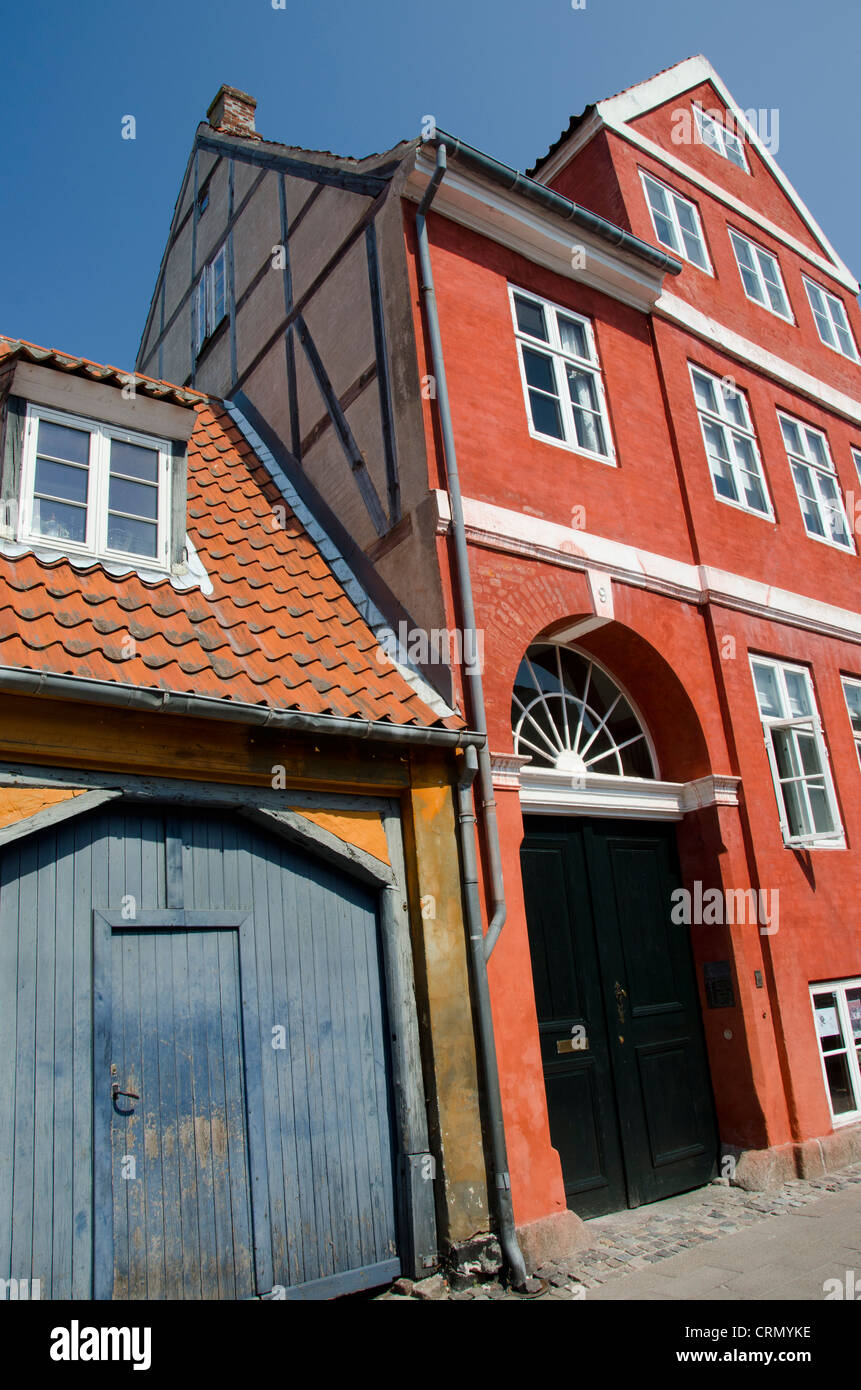 Denmark, Helsingoer. Typical historic architecture on traditional street. - Stock Image