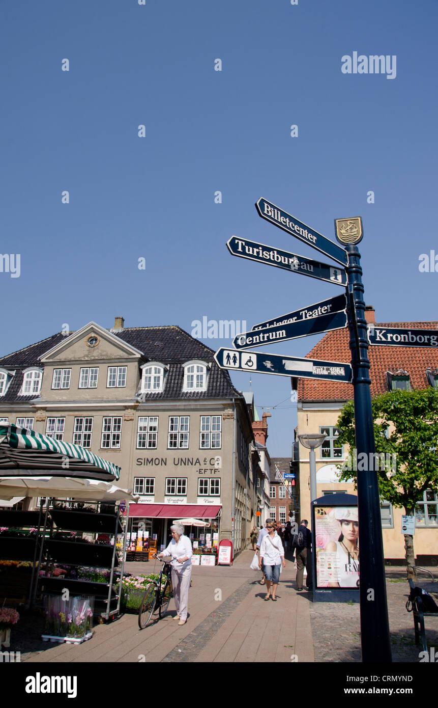 Denmark, Helsingoer. Historic Main Street downtown. - Stock Image