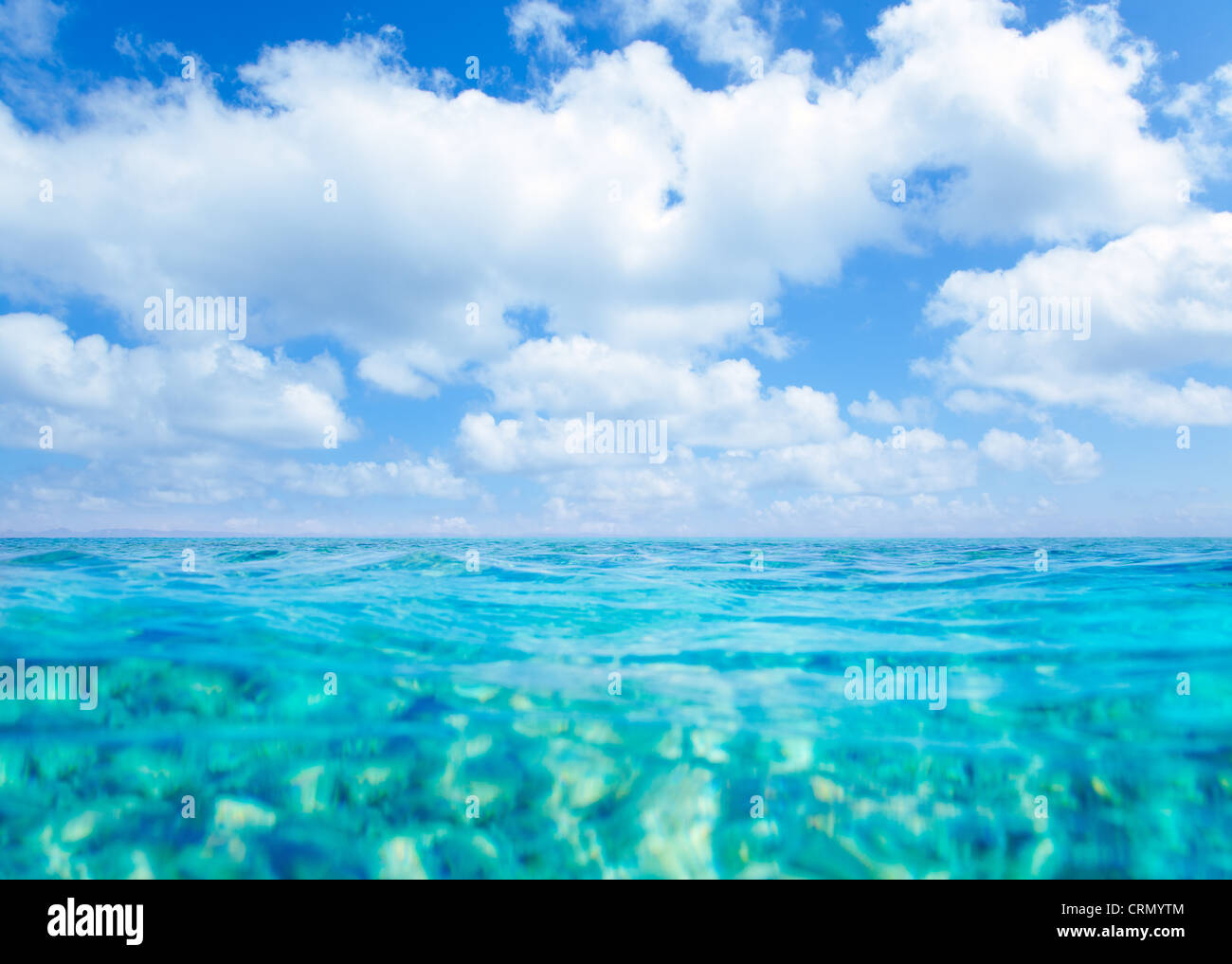Belearic islands turquoise sea under summer blue sky in tropical beach - Stock Image