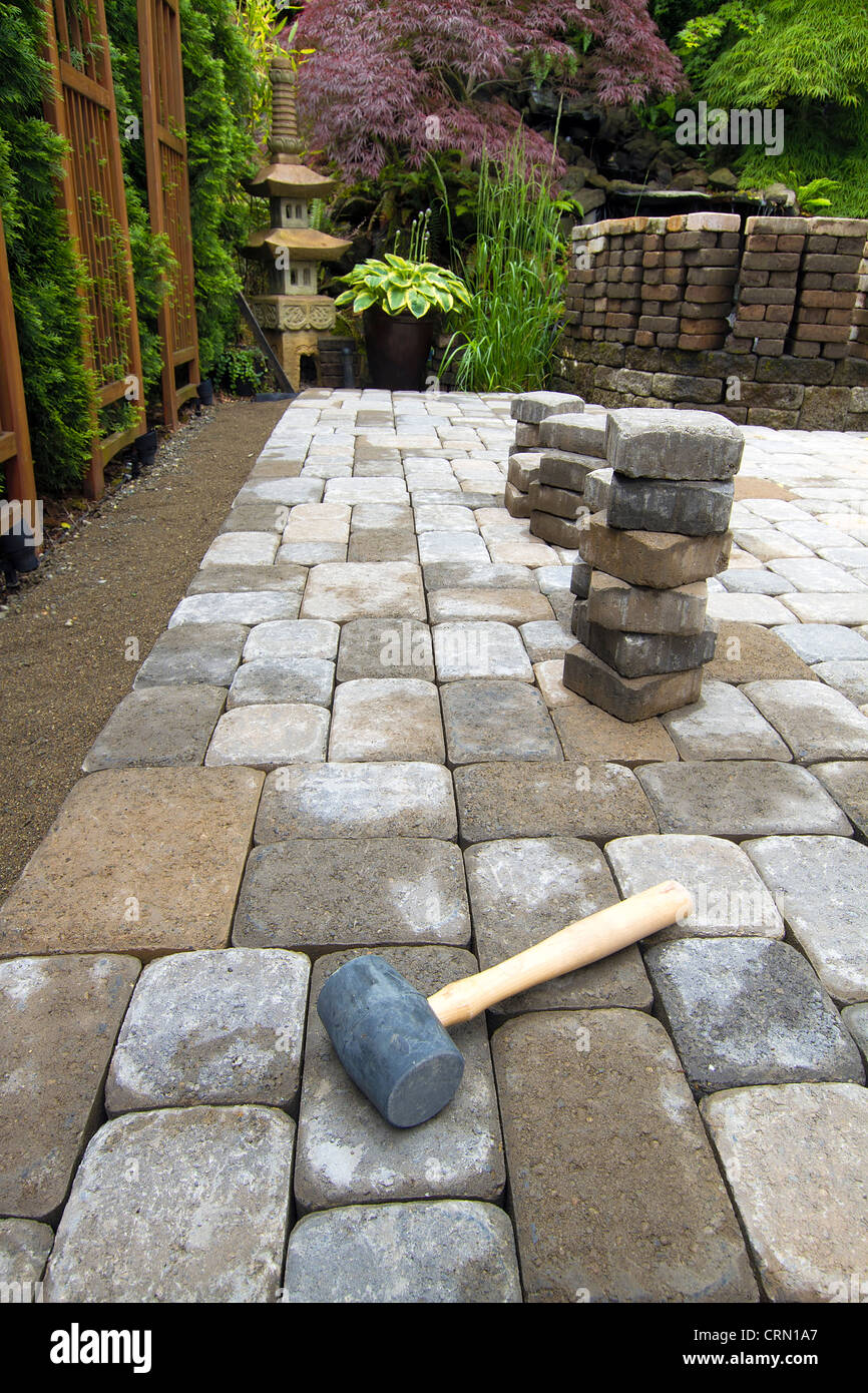 Laying Garden Cement Pavers Patio For Backyard Hardscape Landscaping