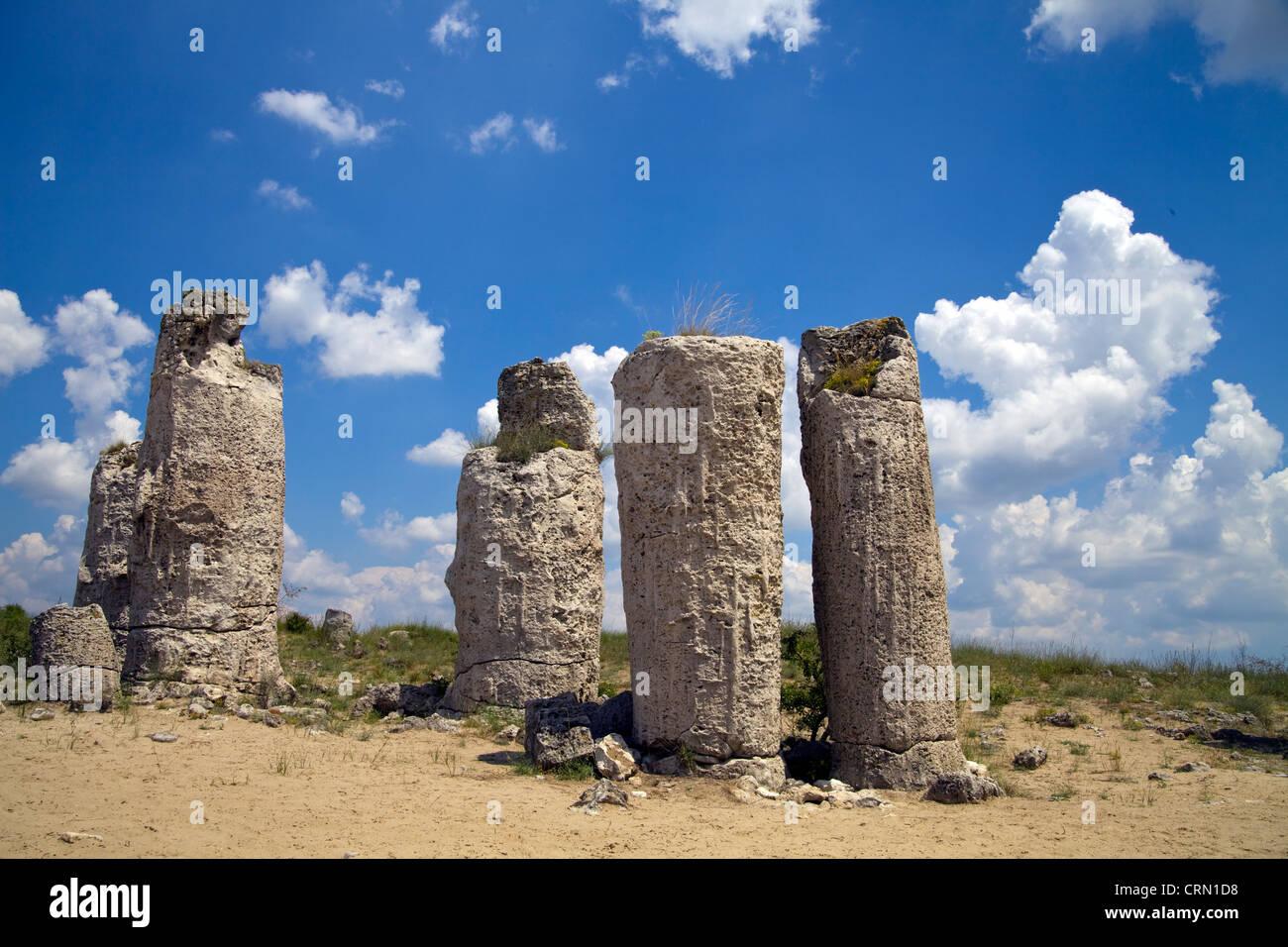 Pobiti Kamani petrified Stone Forest Near Varna in Bulgaria Stock Photo