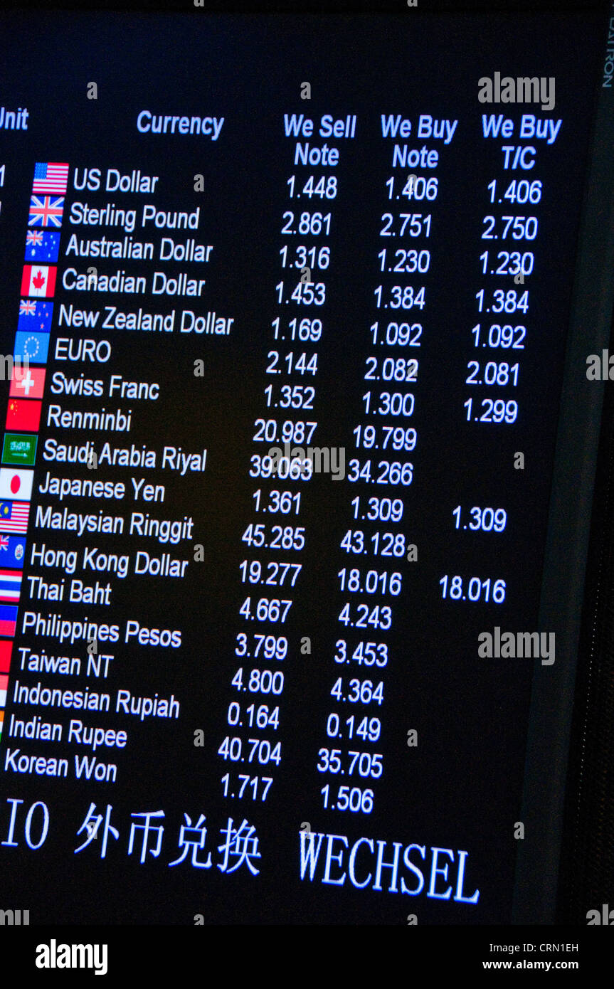 Backlit sign of foreign money exchange rates - Stock Image