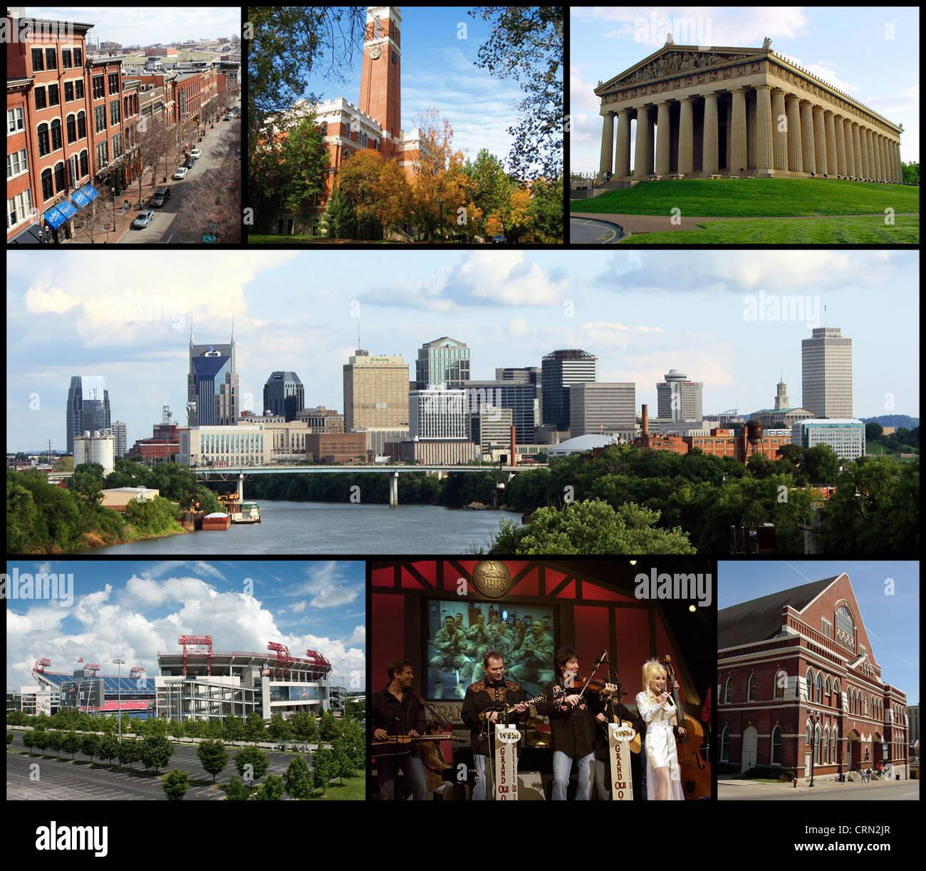 Collage of Nashville landmarks. Top row: 2nd Avenue, Kirkland Hall (Vanderbilt University), The Parthenon; Middle - Stock Image
