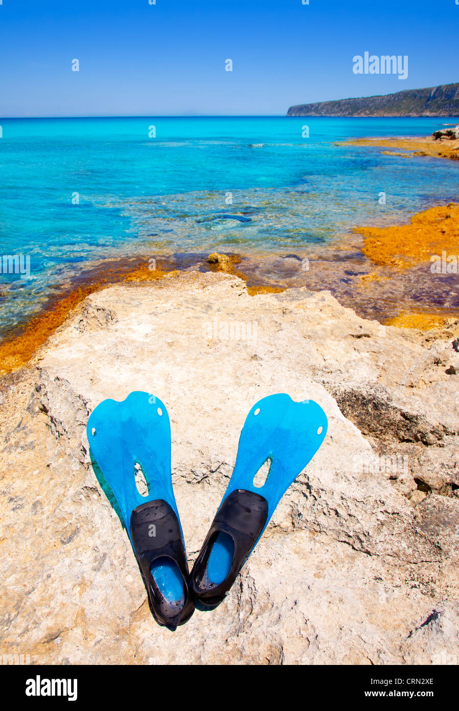 Balearic Formentera island with scuba diving blue fins on a rock - Stock Image