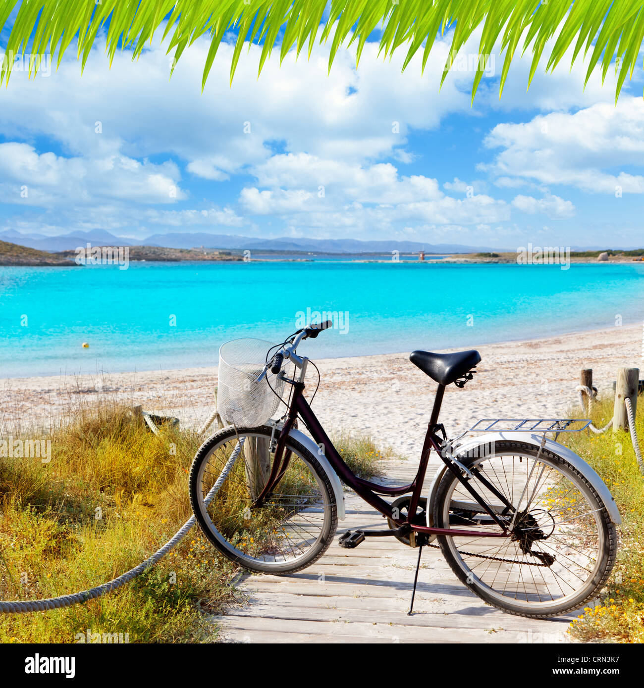 Bicycle in formentera beach on Balearic islands at Illetes Illetas - Stock Image