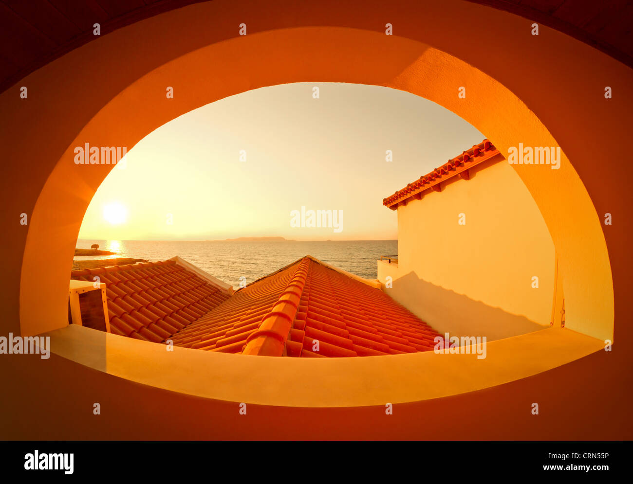 Sunset View Through The Arched Window Orange Wall Crete