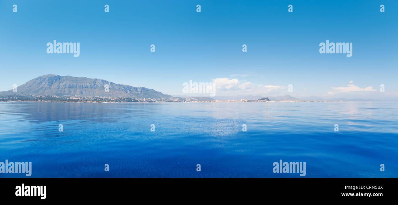 Alicante Denia view from blue calm Mediterranean sea in Spain Stock Photo