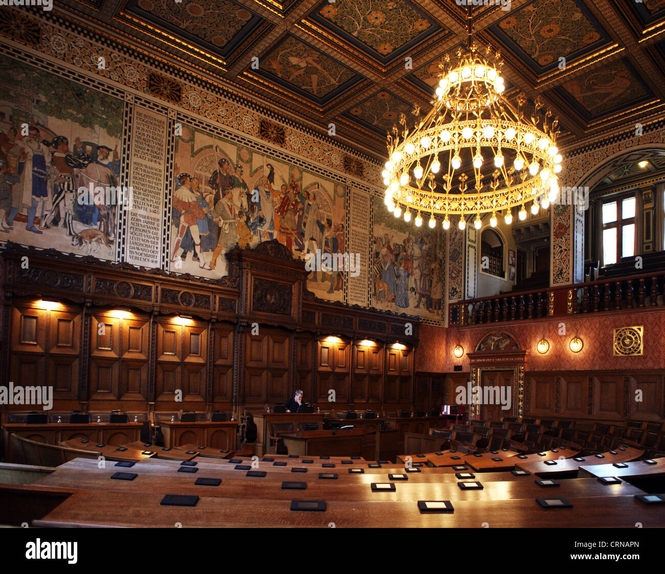 Basel Town Hall Council Chamber, Basel, Switzerland - Stock Image