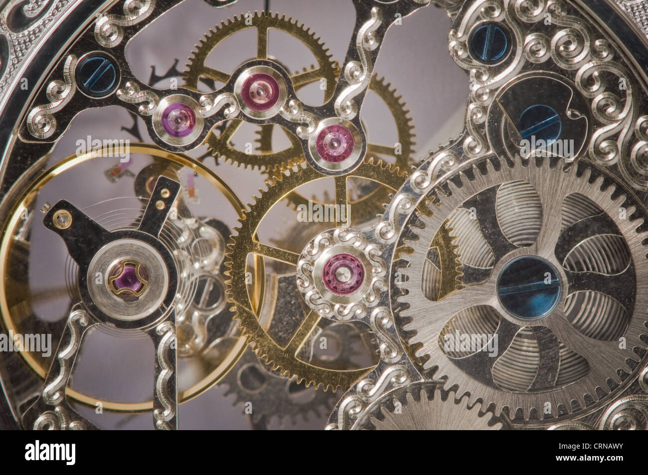 close view of watch mechanism - Stock Image