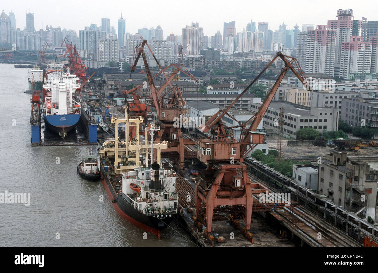 Container ships are deleted in Shanghai port Stock Photo