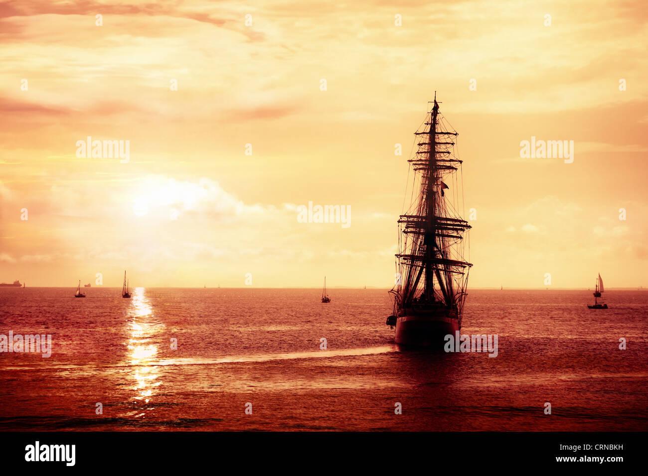 Pirate ship sailing Stock Photo