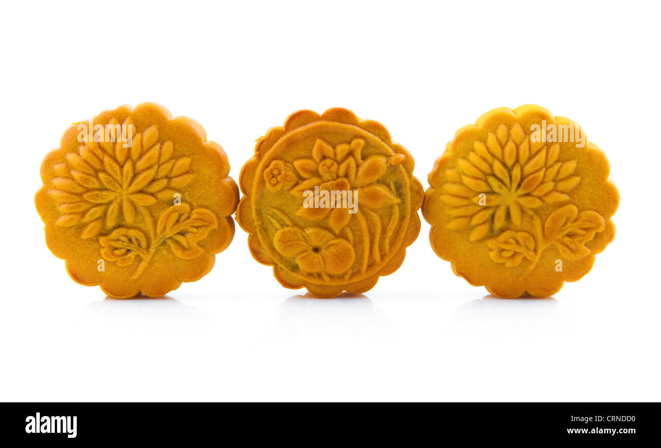 Mooncake traditionally eaten during the Mid-Autumn Festival and this is one of the four most important Chinese festivals. - Stock Image