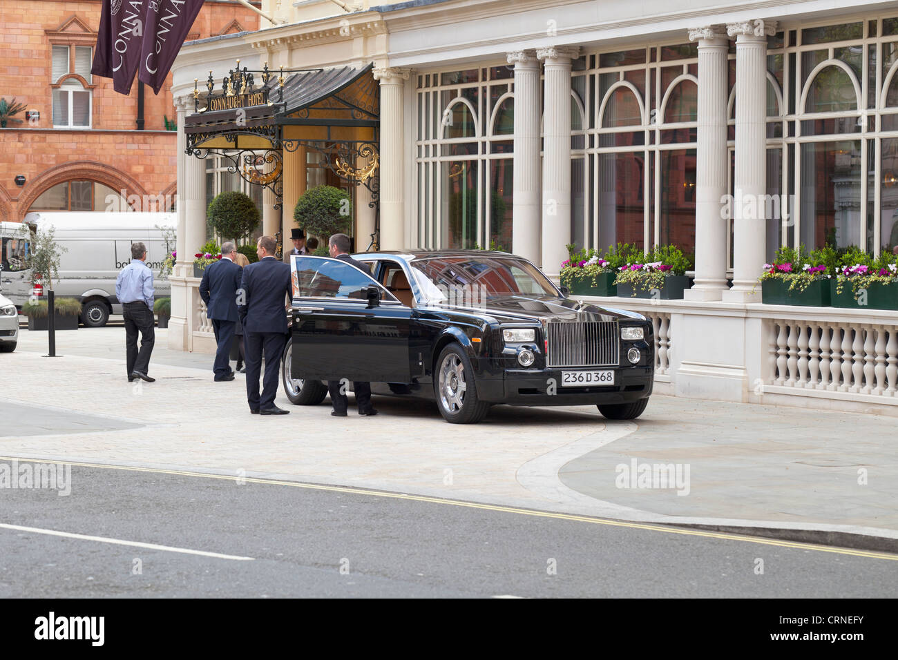Rolls Royce parked outside the Connaught hotel in London, England - Stock Image