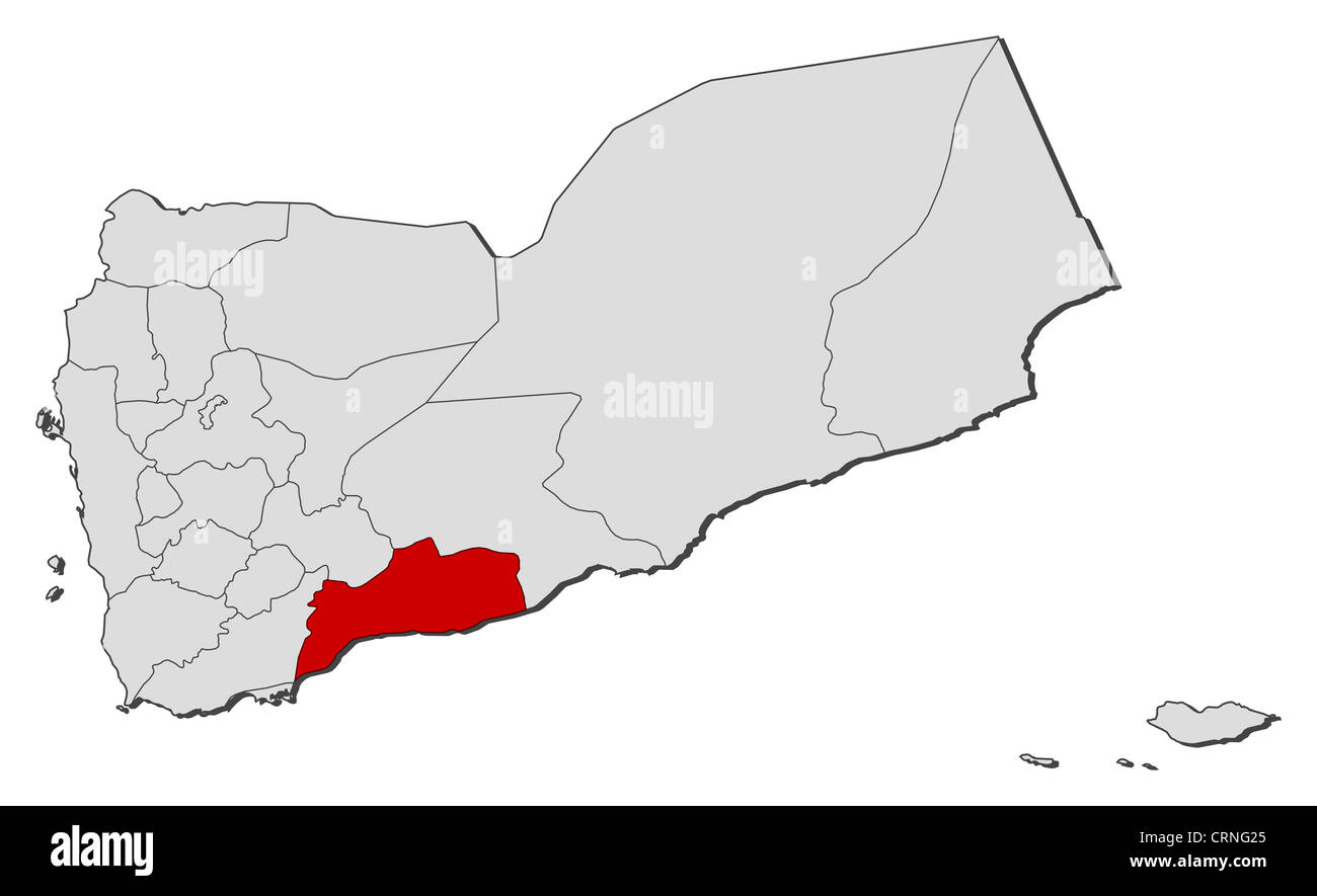Political Map Of Yemen.Political Map Of Yemen With The Several Governorates Where Abyan Is