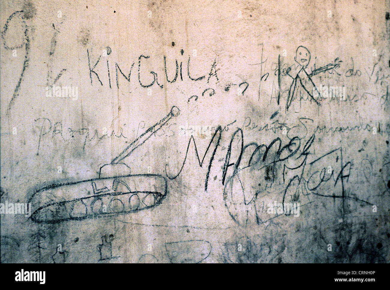 Children drawing of a civil war in Angola. - Stock Image