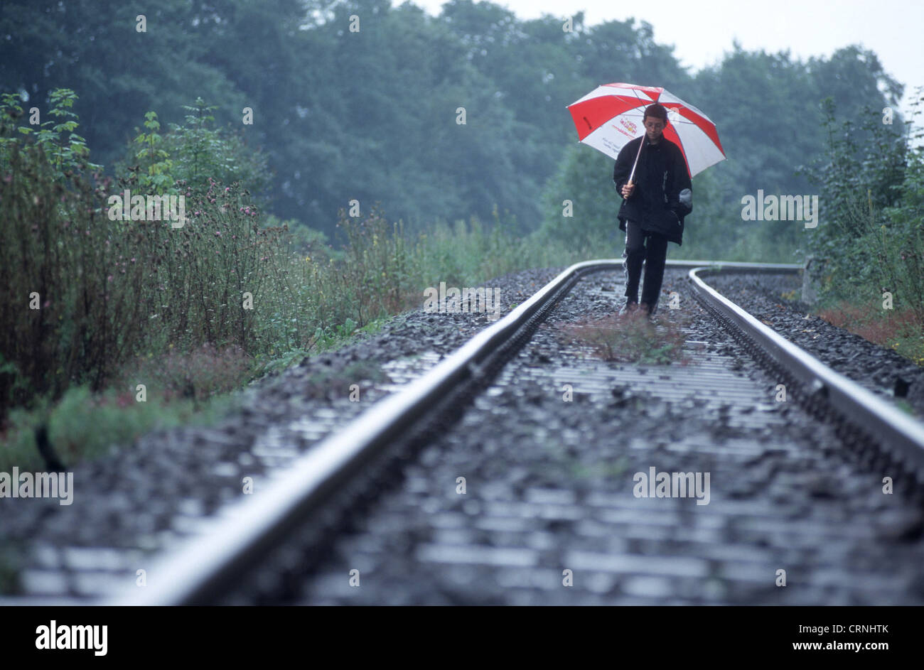 disused railway line in East Germany - Stock Image