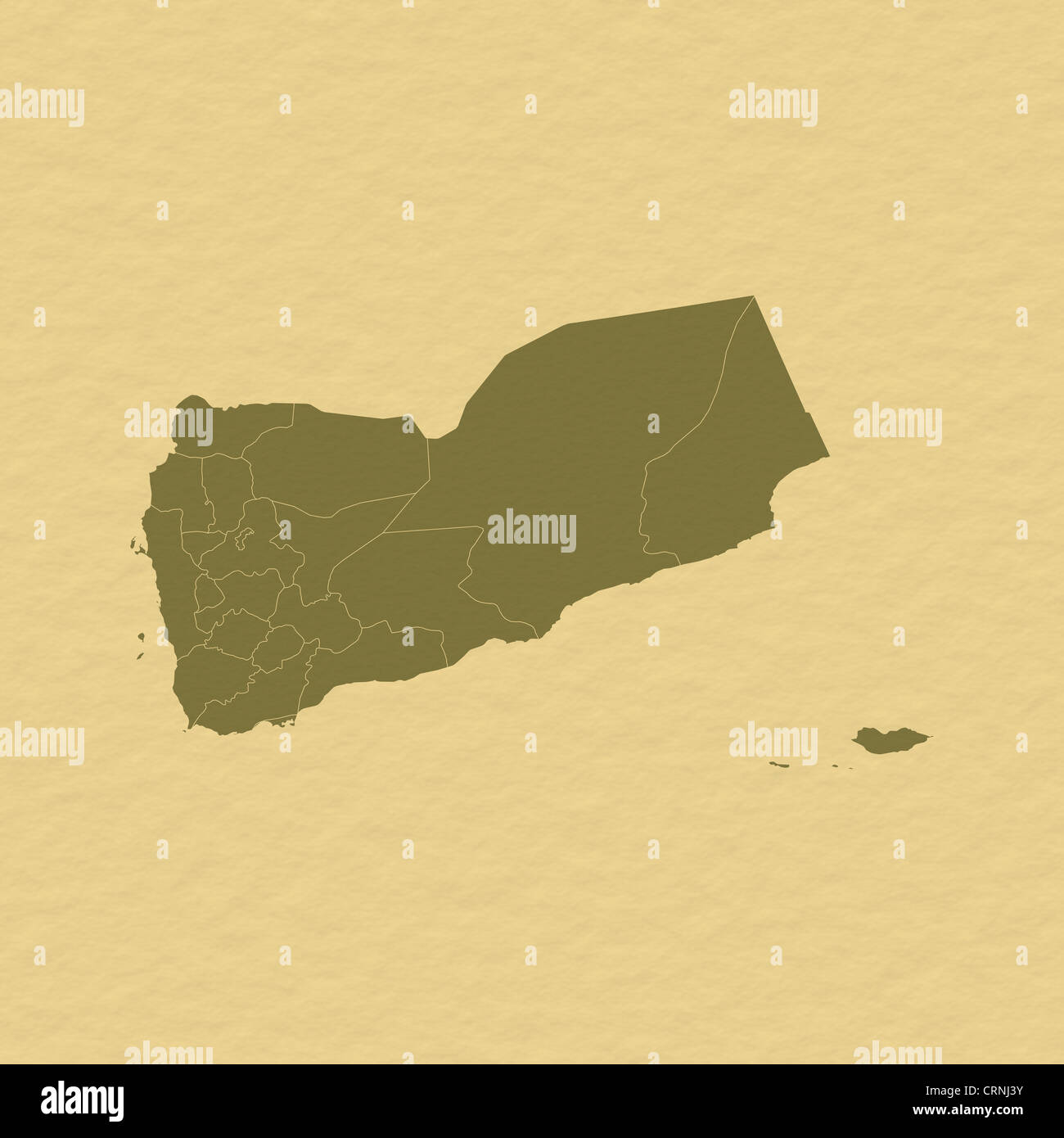 Political Map Of Yemen.Political Map Of Yemen With The Several Governorates Stock Photo