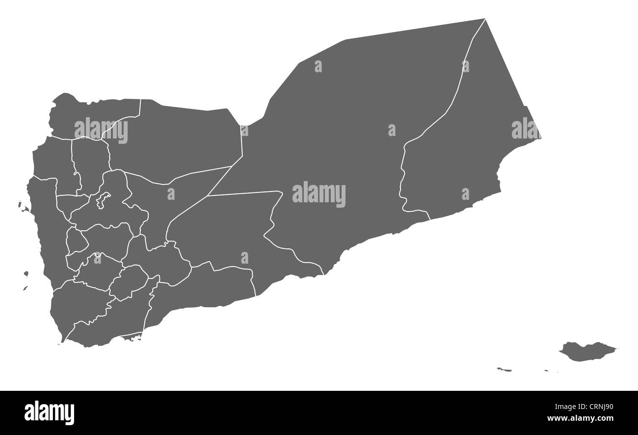 Political map of Yemen with the several governorates. - Stock Image