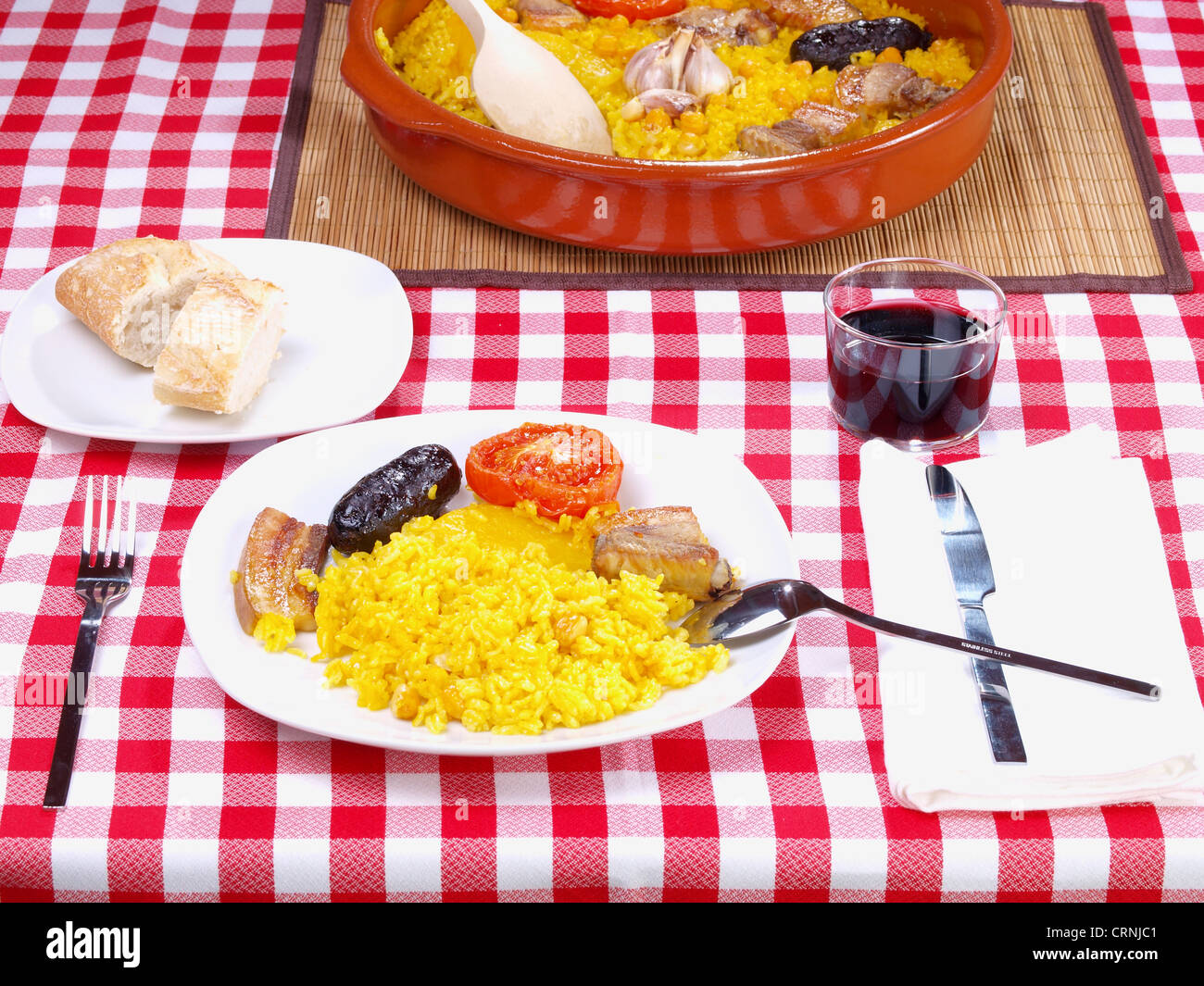 Arroz al Horno – Oven cooked rice Stock Photo