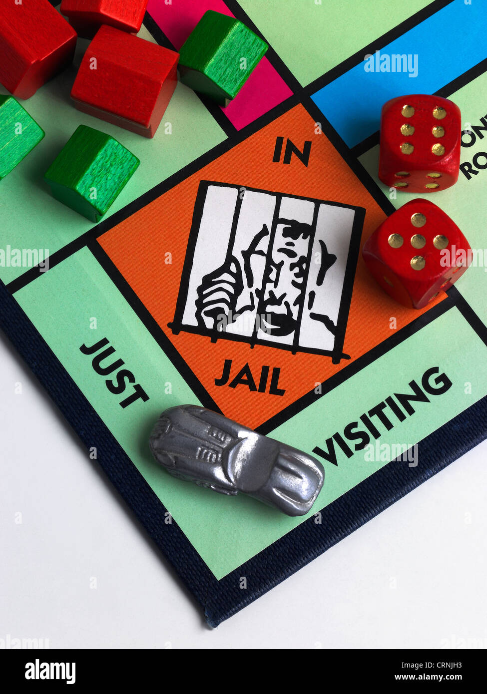 A Monopoly game board showing Jail - Stock Image