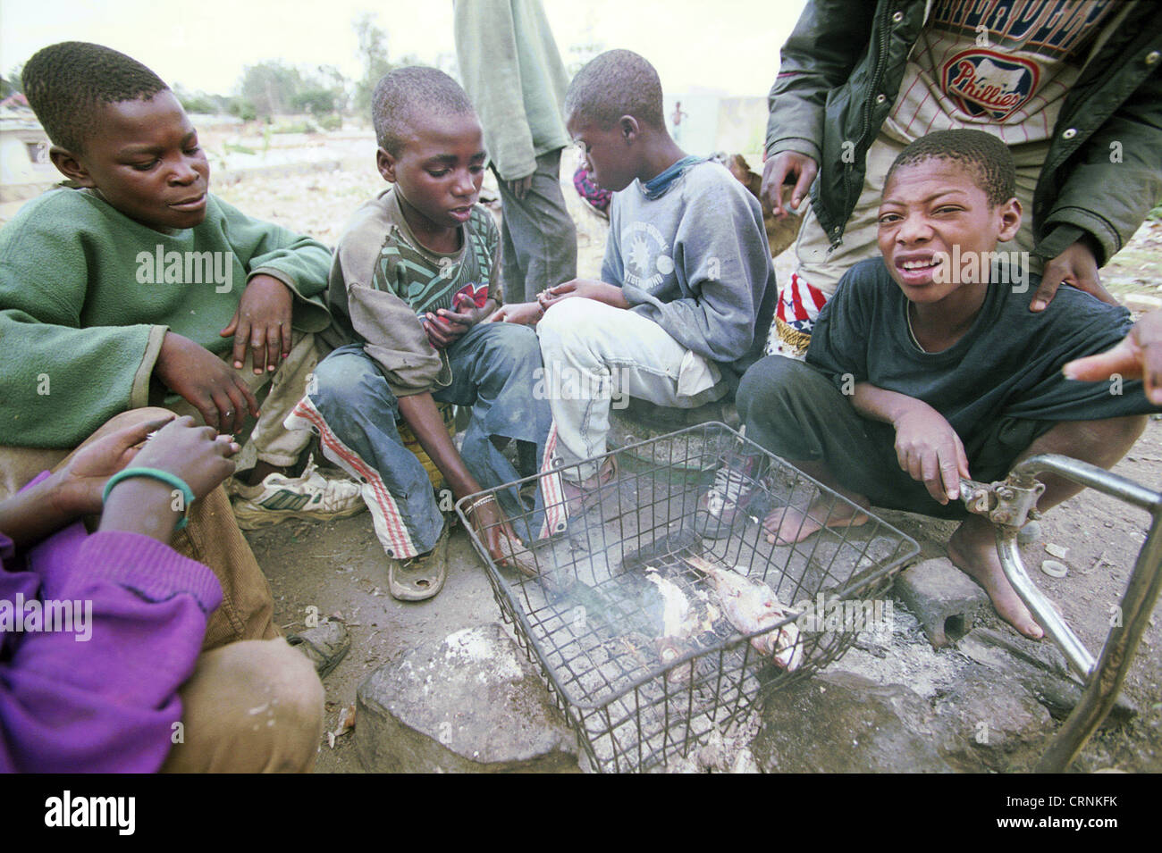 Meeting place of street children in Lubango. - Stock Image