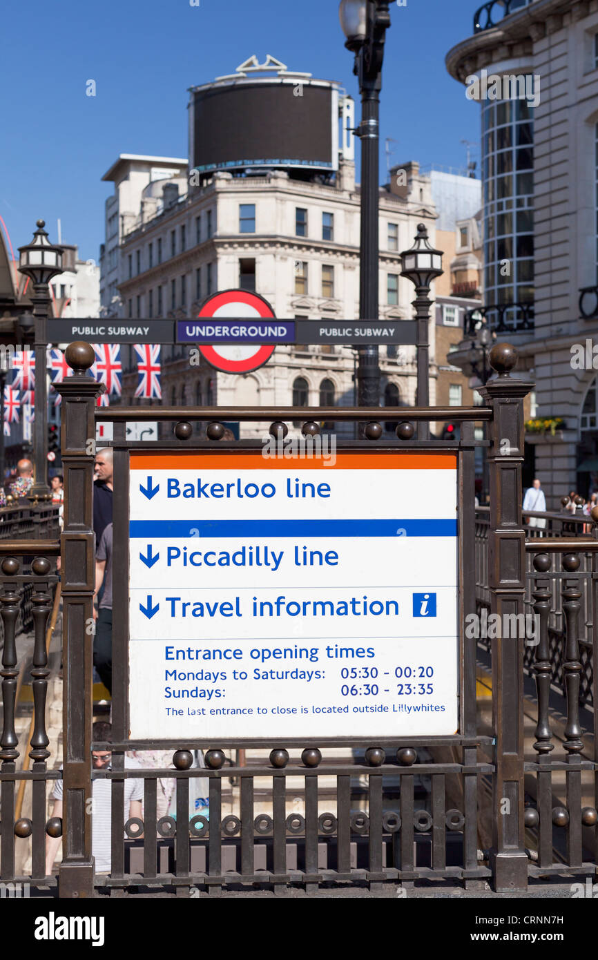 Information boards at Piccadilly Circus underground station, London, United Kingdom - Stock Image