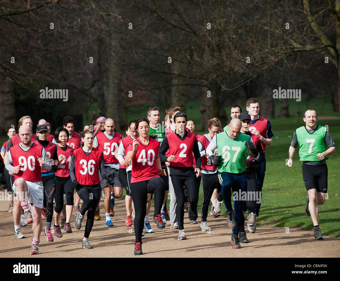 People wearing coloured, numbered bibs exercising in Hyde Park. - Stock Image
